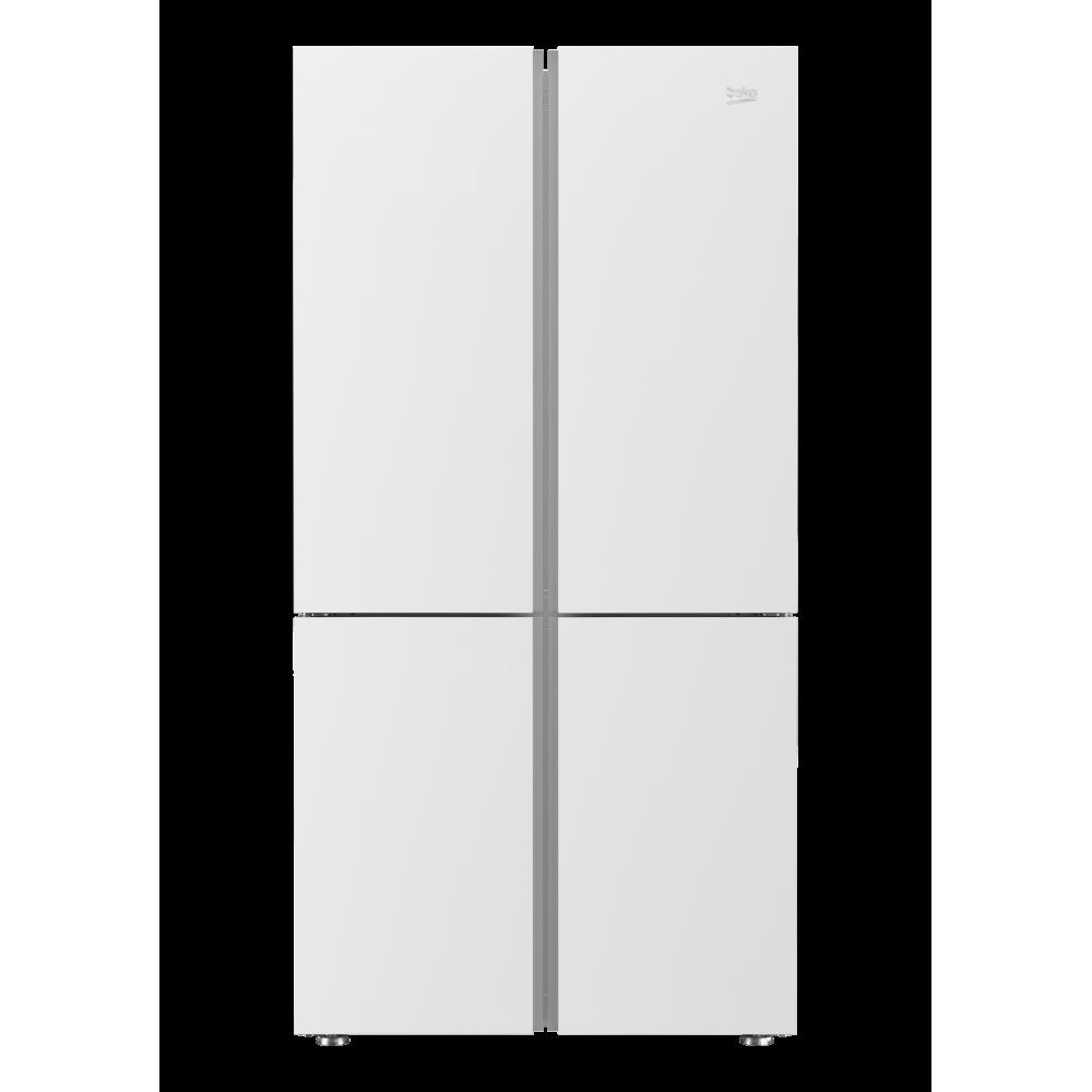 ثلاجة Beko باربعة أبواب، السعة الاجمالي 580 لتر، تبريد اسرع مع استهلاك طاقة اقل وضجيج اقل، فلتر تنقية الهواء، اللون زجاج أبيض