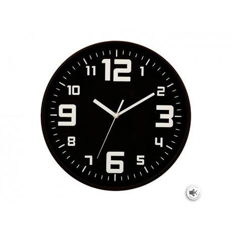 ساعة حائط بلاستيك لون أسود، قطر 30 سم 114555G