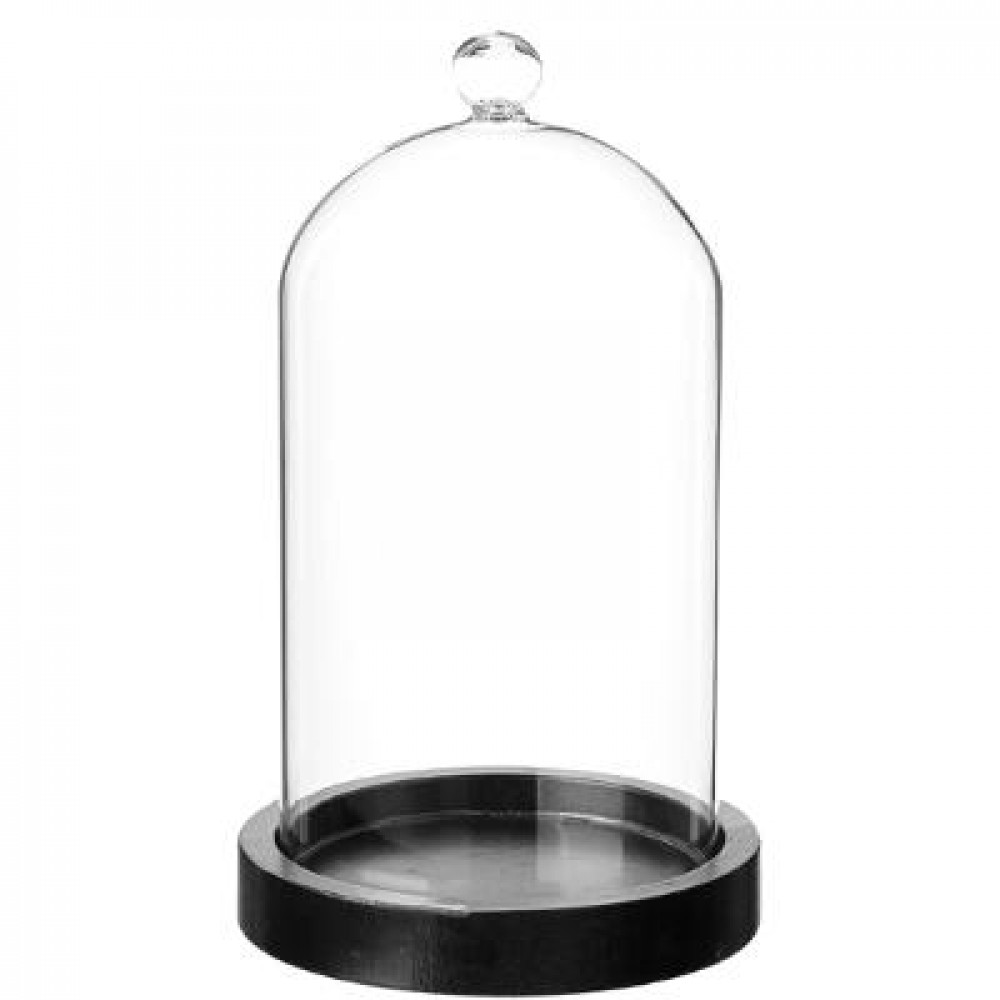 Atmosphera Glass Cover Wooden Base H19 110161