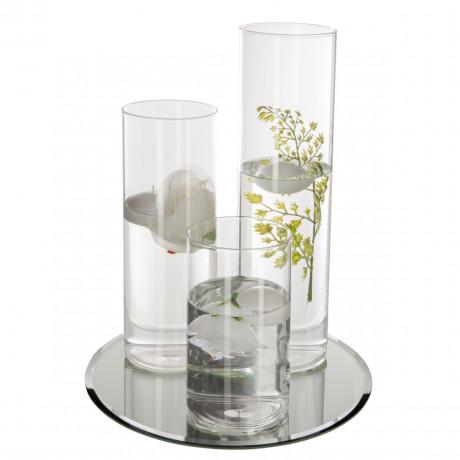 مزهرية ثلاثية مع صحن مراية تصلح ل زهور او الشموع 155646
