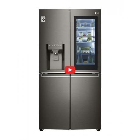 ثلاجة LG باربعة أبواب بسعة اجمالية 653 لتر إنستافيو بميزة باب داخل باب و تنقية الهواء لون أسود ستانلس ستيل