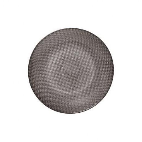 صحن دائري زجاج رمادي 20 سم 160608A